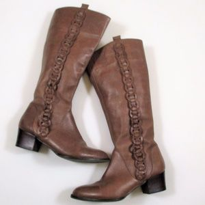 Fossil 7 Brown Leather Knee High Boots Block Heel
